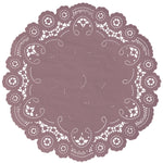 "Vintage mauve color paper doilies available in the delicate French lace style and in sizes ranging from 4"" to 12"""