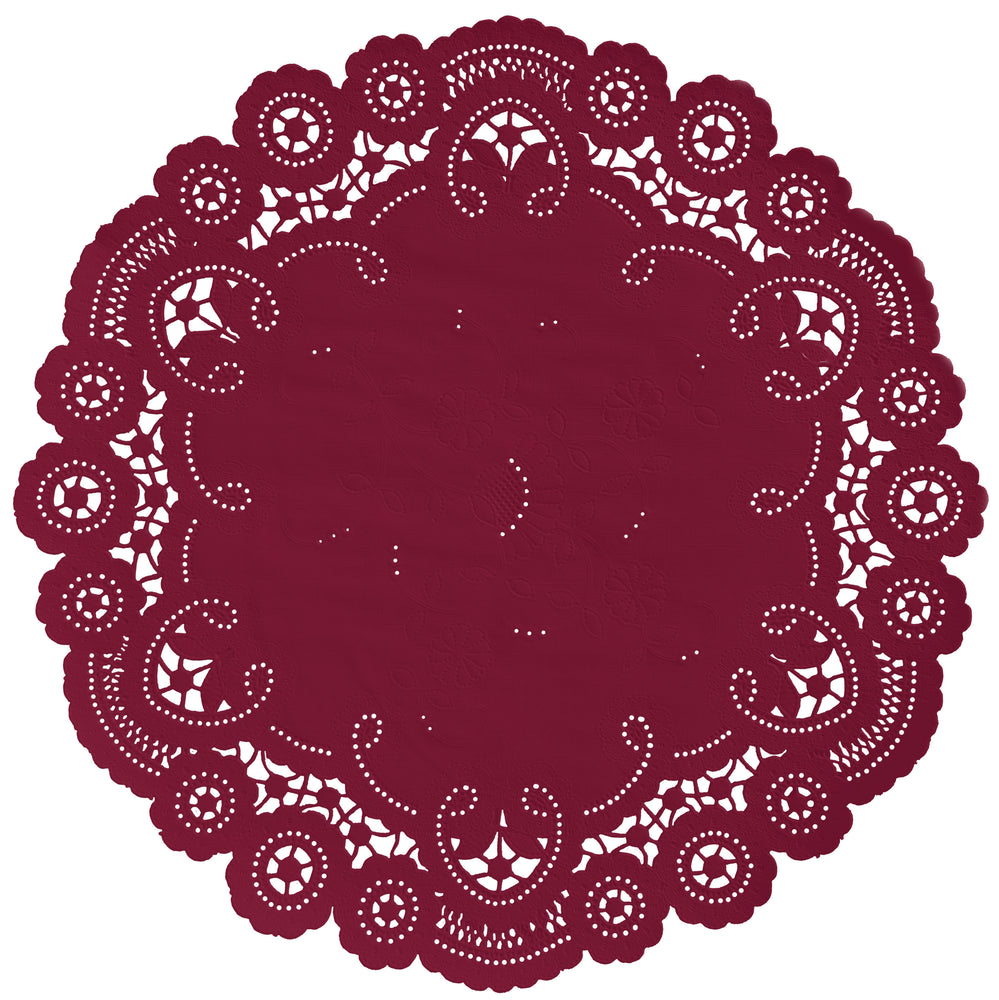 "Vintage red color paper doilies available in the delicate French lace style and in sizes ranging from 4"" to 12"""