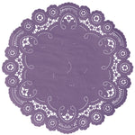 "Viola color paper doilies available in the delicate French lace style and in sizes ranging from 4"" to 12"""