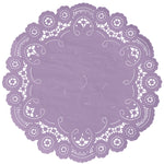 "Violet color paper doilies available in the delicate French lace style and in sizes ranging from 4"" to 12"""