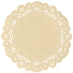 "Wheat  color paper doilies available in the delicate French lace style and in sizes ranging from 4"" to 12"""