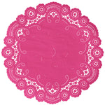 "wild rose color paper doilies available in the delicate French lace style and in sizes ranging from 4"" to 12"""