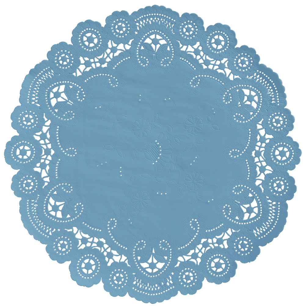 "Windsor blue color paper doilies available in the delicate French lace style and in sizes ranging from 4"" to 12"""