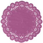 "Wineberry color paper doilies available in the delicate French lace style and in sizes ranging from 4"" to 12"""