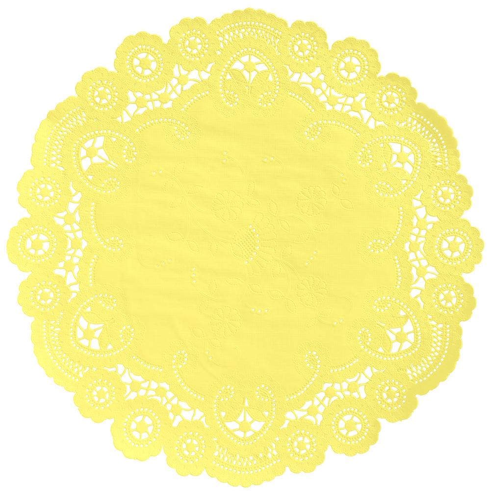 "Yellow tulip color paper doilies available in the delicate French lace style and in sizes ranging from 4"" to 12"""