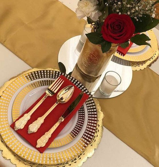 "Low priced 12"" gold metallic charger placemats"