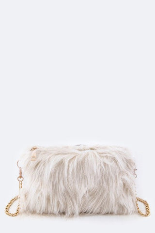 Shaggy Ivory Faux Fur Clutch