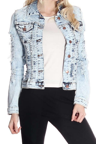 Light Blue Denim Distressed Jacket
