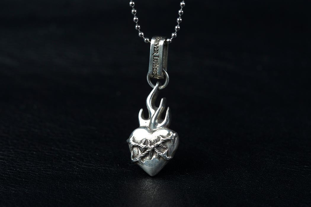 Sterling Silver Sacred Heart Jewelry Flaming Sacred Heart Pendant with Thorns Bronze Sacred Heart Charm Heart Sacred Heart Pendant