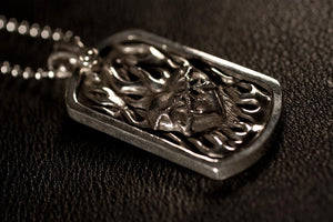Flaming Heart Dog Tag Pendant