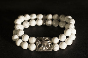 Double strand beaded bracelet- howlite