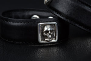 Leather Cuff Bracelet with skulls