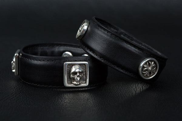 Leather Cuff Bracelet with skull & cross