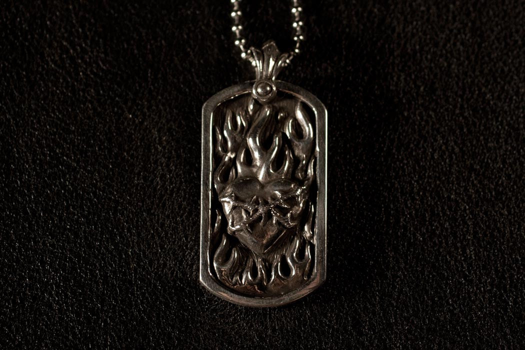Flaming heart dog tag pendant aloadofball Gallery