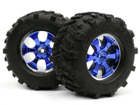 HOT BODIES 61182-2 Predator Wheel Chrome/Blue w/ Deathgrip Tire L/R Hpi Savage *DISC*