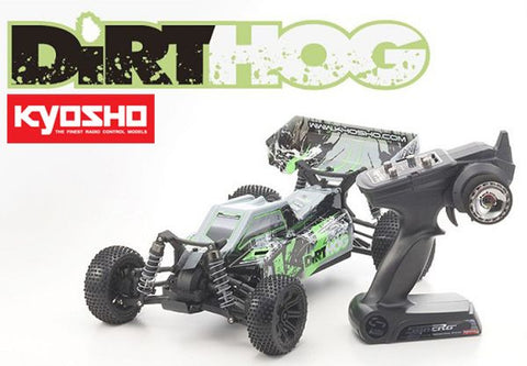 KYOSHO 30993T2B Dirt Hog 1/10th 4WD Electric Off Road Buggy w/2.4GHz, Battery & Charger (Green)