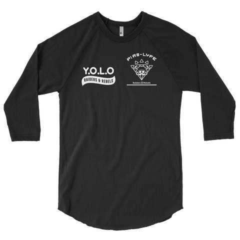 """ Y.O.L.O / YOLO "" baseball raglan 3/4 Sleeve T-Shirt  (FRONT AND BACK PRINT)"