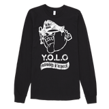 """ YOLO GRUNGE LOOK"" long sleeves Jersey Tee / Crewneck (WOMEN'S CUT) / BLACK VERSION VERSION"