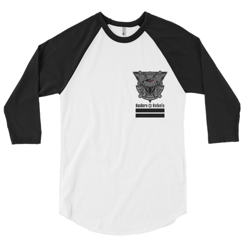 PIR8 LYFE OWL raglan baseball tee (small front and large back owl design)