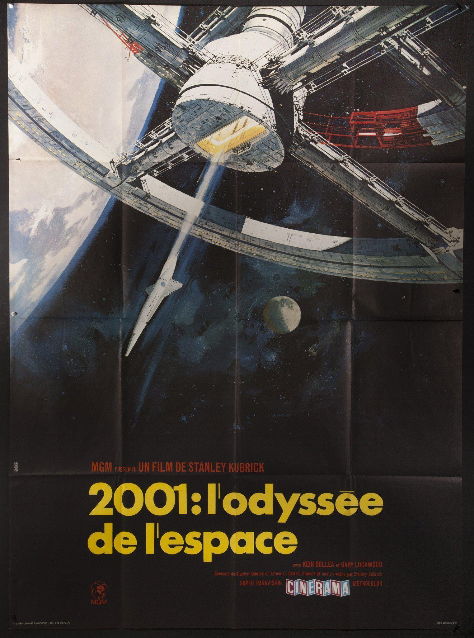 2001 A Space Odyssey French 1 panel (47x63) Original Vintage Movie Poster