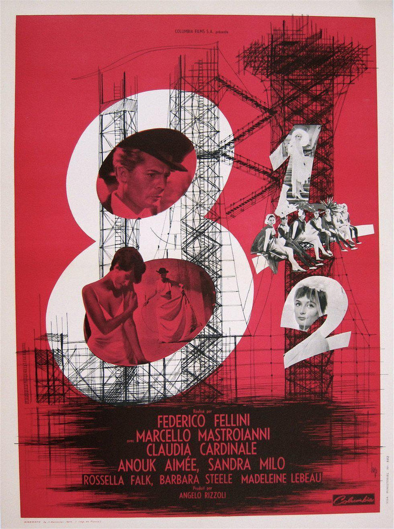 8 1/2 (Eight and a Half) French small (23x32) Original Vintage Movie Poster