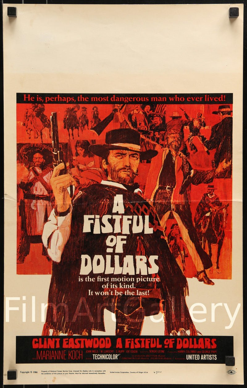 A Fistful of Dollars Window Card (14x22) Original Vintage Movie Poster