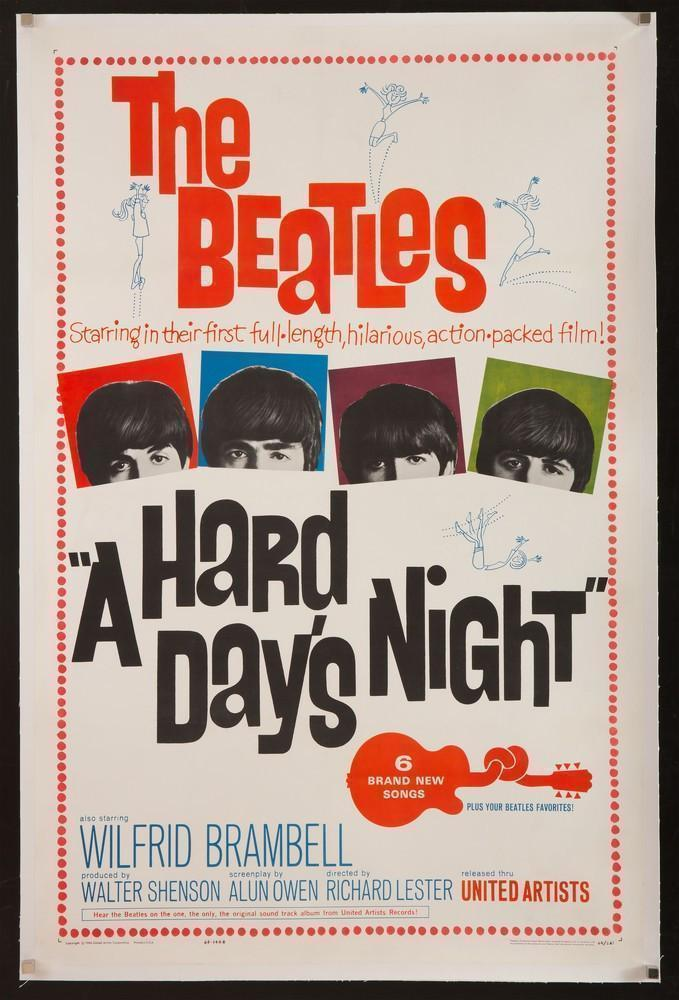 A Hard Day's Night 1 Sheet (27x41) Original Vintage Movie Poster