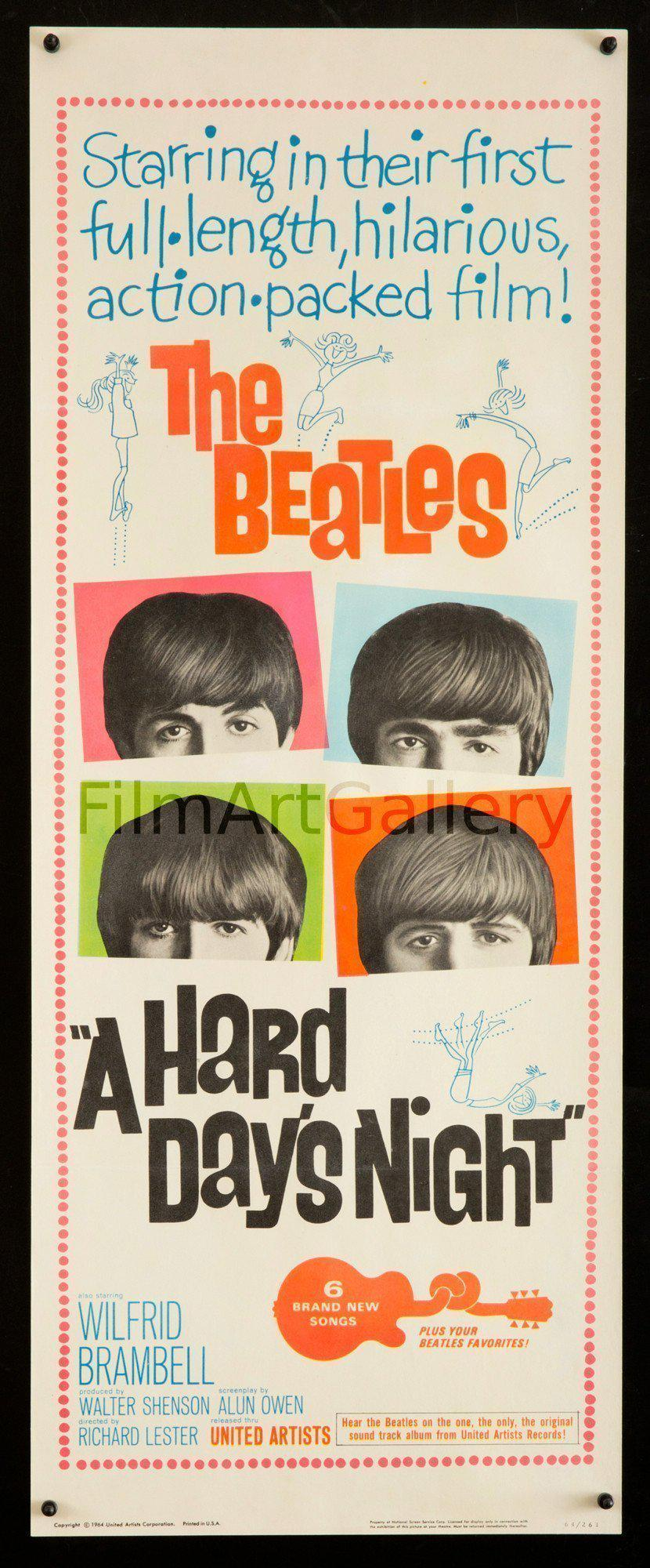 A Hard Day's Night Insert (14x36) Original Vintage Movie Poster