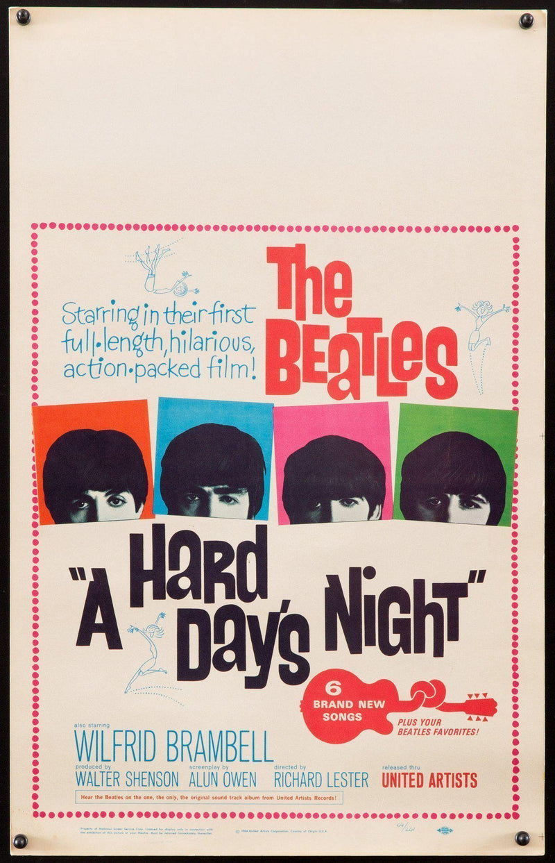 A Hard Day's Night Window Card (14x22) Original Vintage Movie Poster