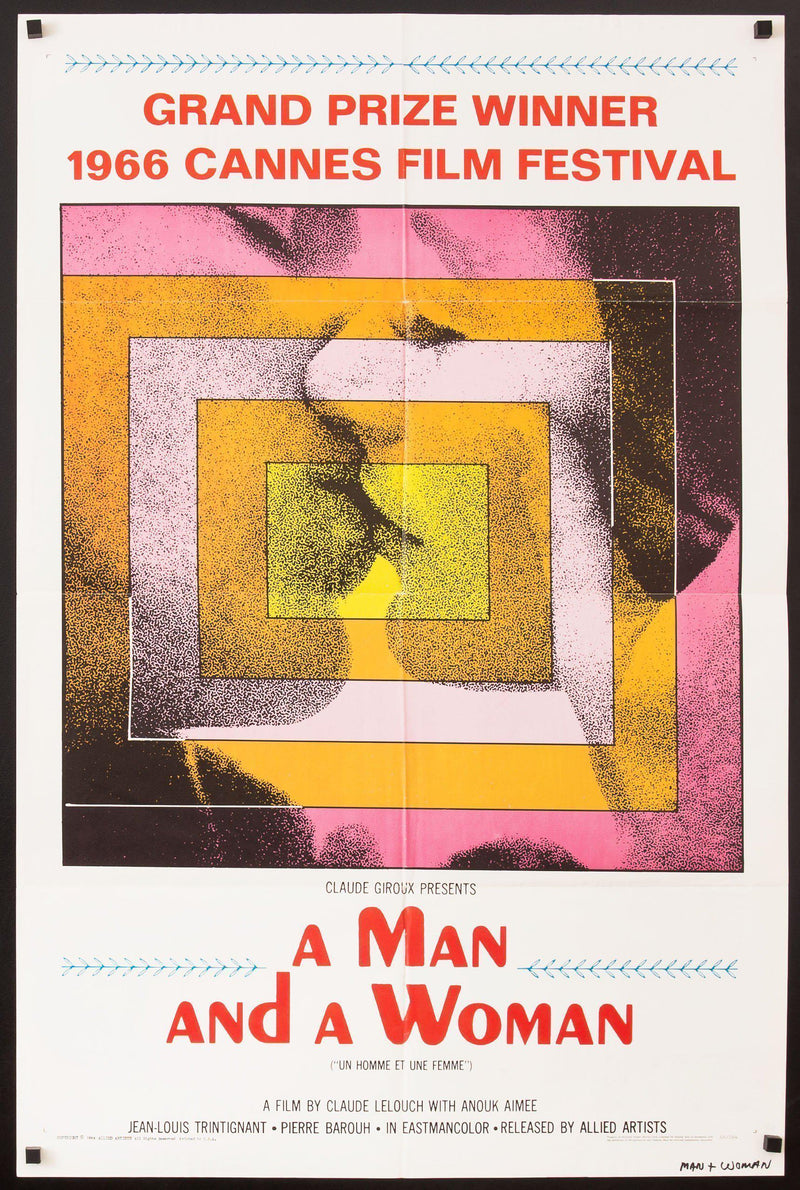 A Man and a Woman (Un Homme et Une Femme) 1 Sheet (27x41) Original Vintage Movie Poster