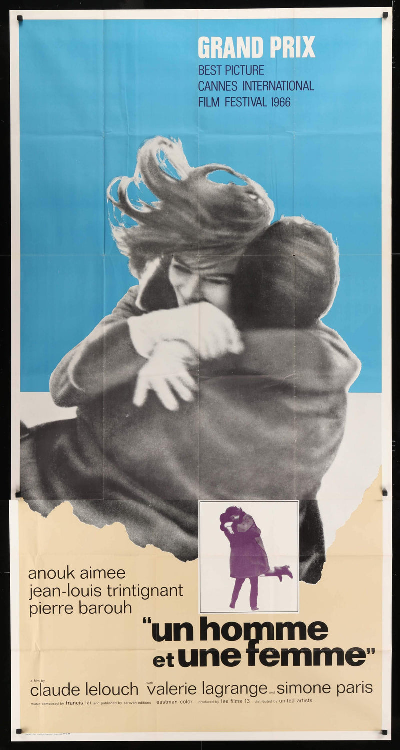 A Man and a Woman (Un Homme et Une Femme) 3 Sheet (41x81) Original Vintage Movie Poster