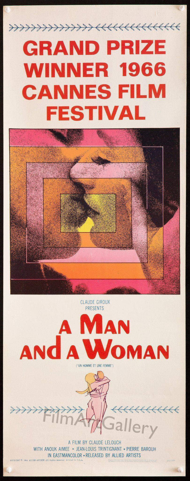 A Man and a Woman Insert (14x36) Original Vintage Movie Poster