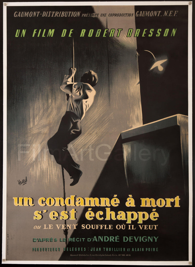 A Man Escaped (Un Condamne A Mort S'Est Echappe) French 1 Panel (47x63) Original Vintage Movie Poster
