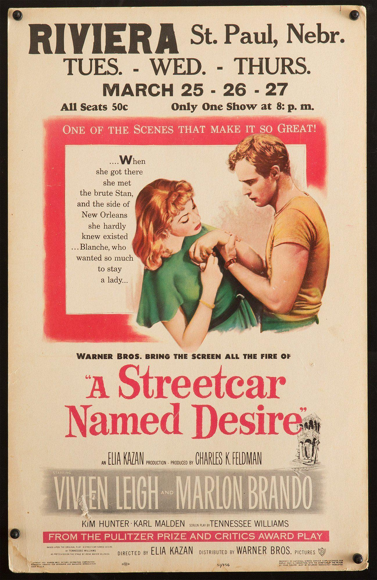 A Streetcar Named Desire Window Card (14x22) Original Vintage Movie Poster