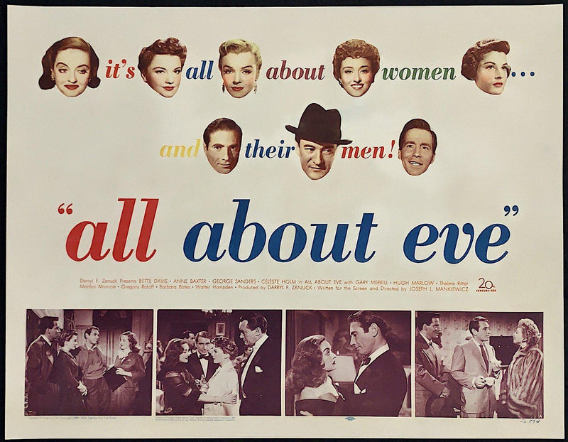 All About Eve Half Sheet (22x28) Original Vintage Movie Poster