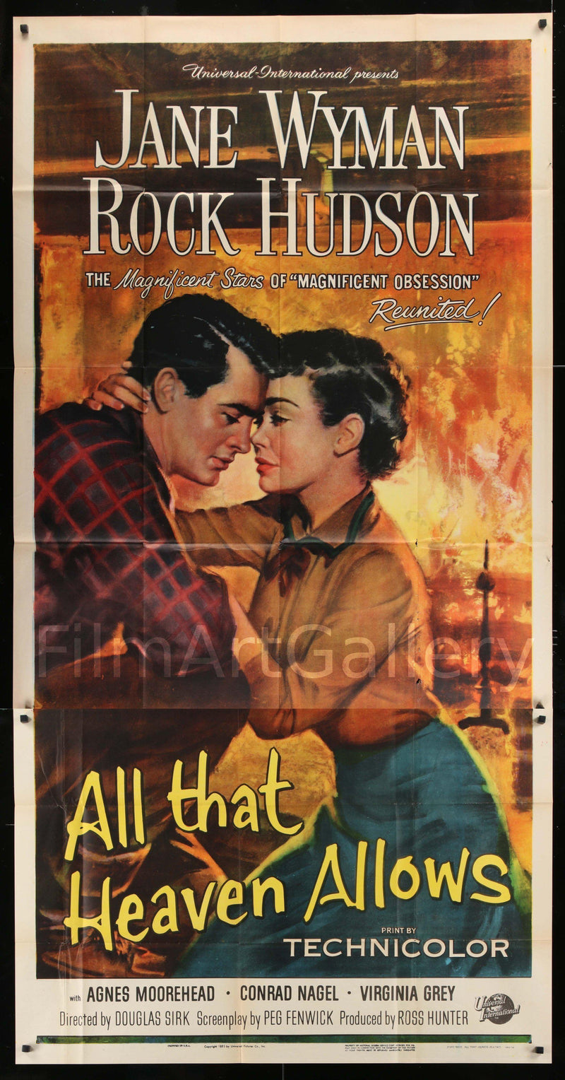 All That Heaven Allows 3 Sheet (41x81) Original Vintage Movie Poster