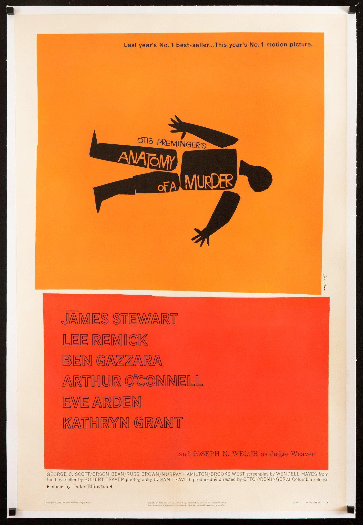 Anatomy of a Murder 1 Sheet (27x41) Original Vintage Movie Poster