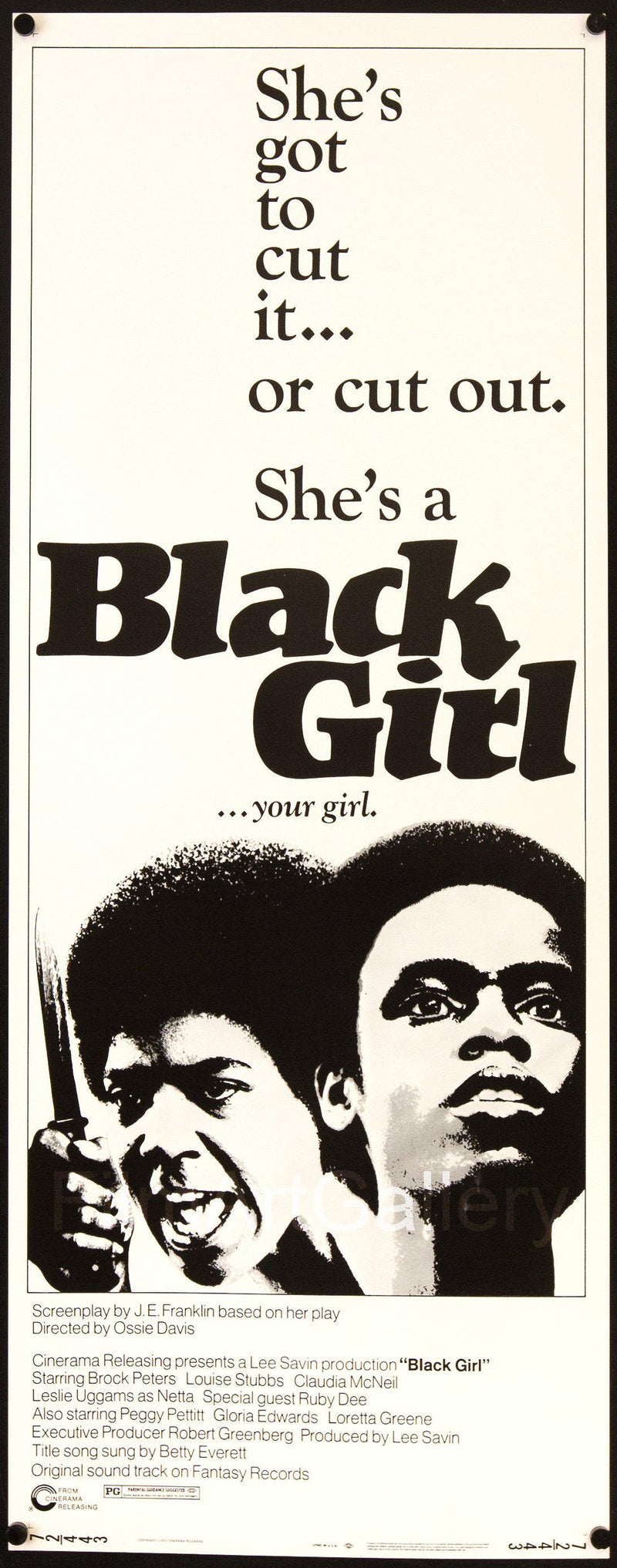 Black Girl Insert (14x36) Original Vintage Movie Poster