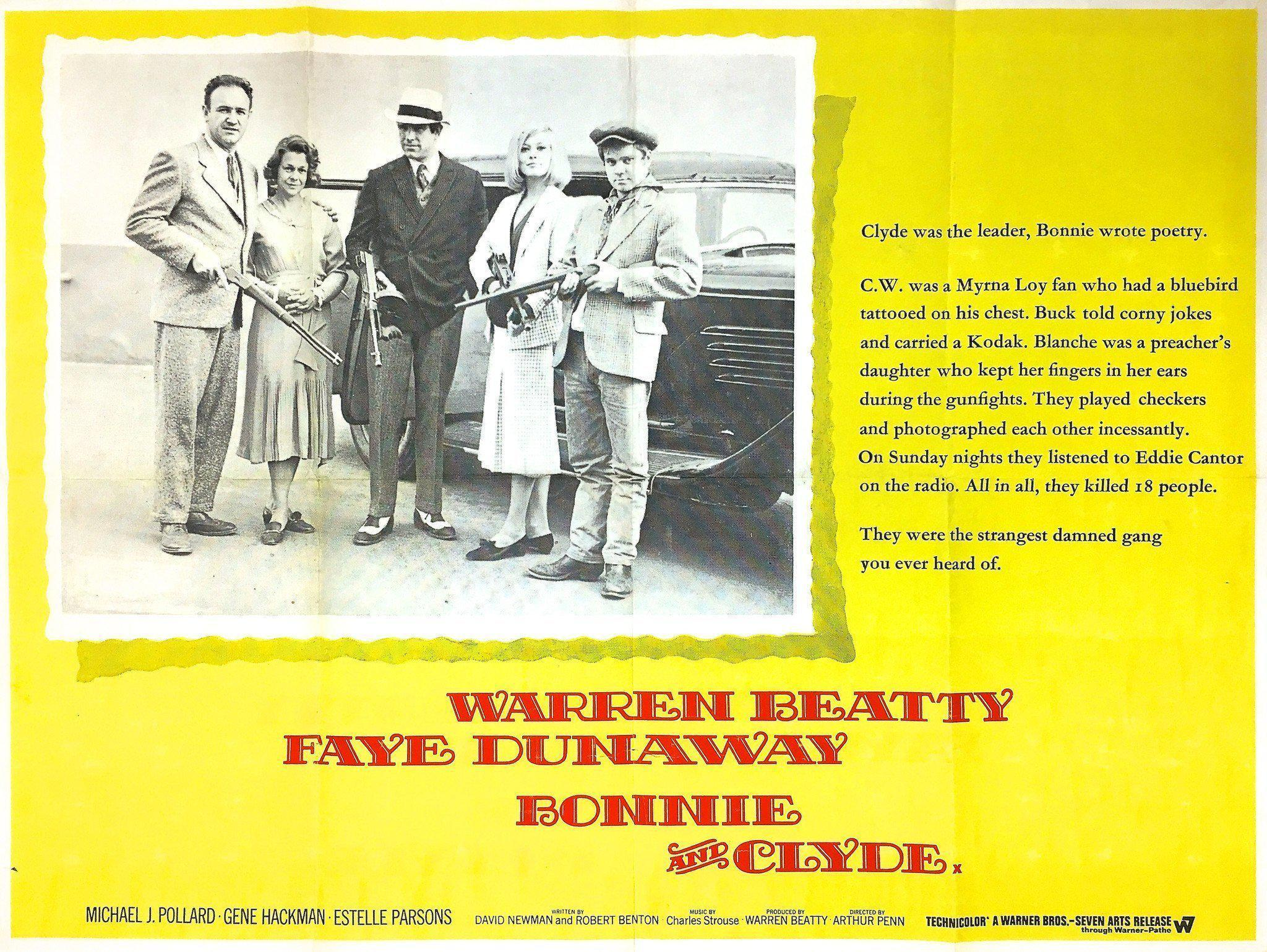 Bonnie and Clyde British Quad (30x40) Original Vintage Movie Poster
