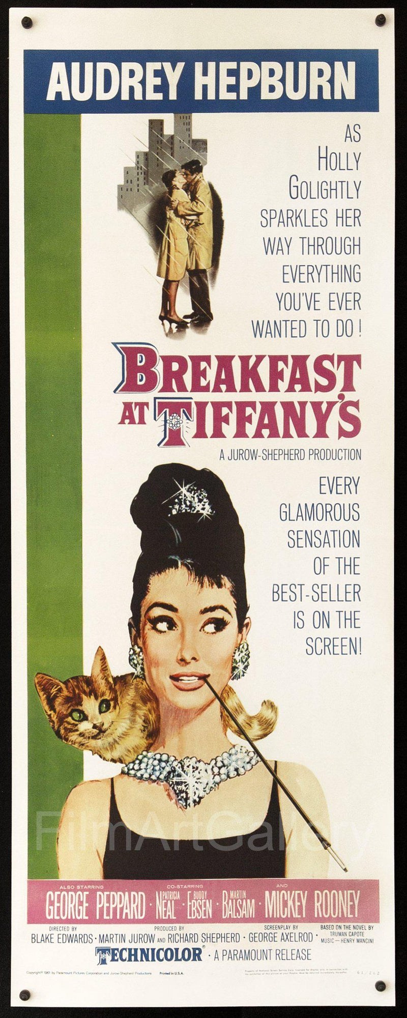 Breakfast at Tiffany's Insert (14x36) Original Vintage Movie Poster