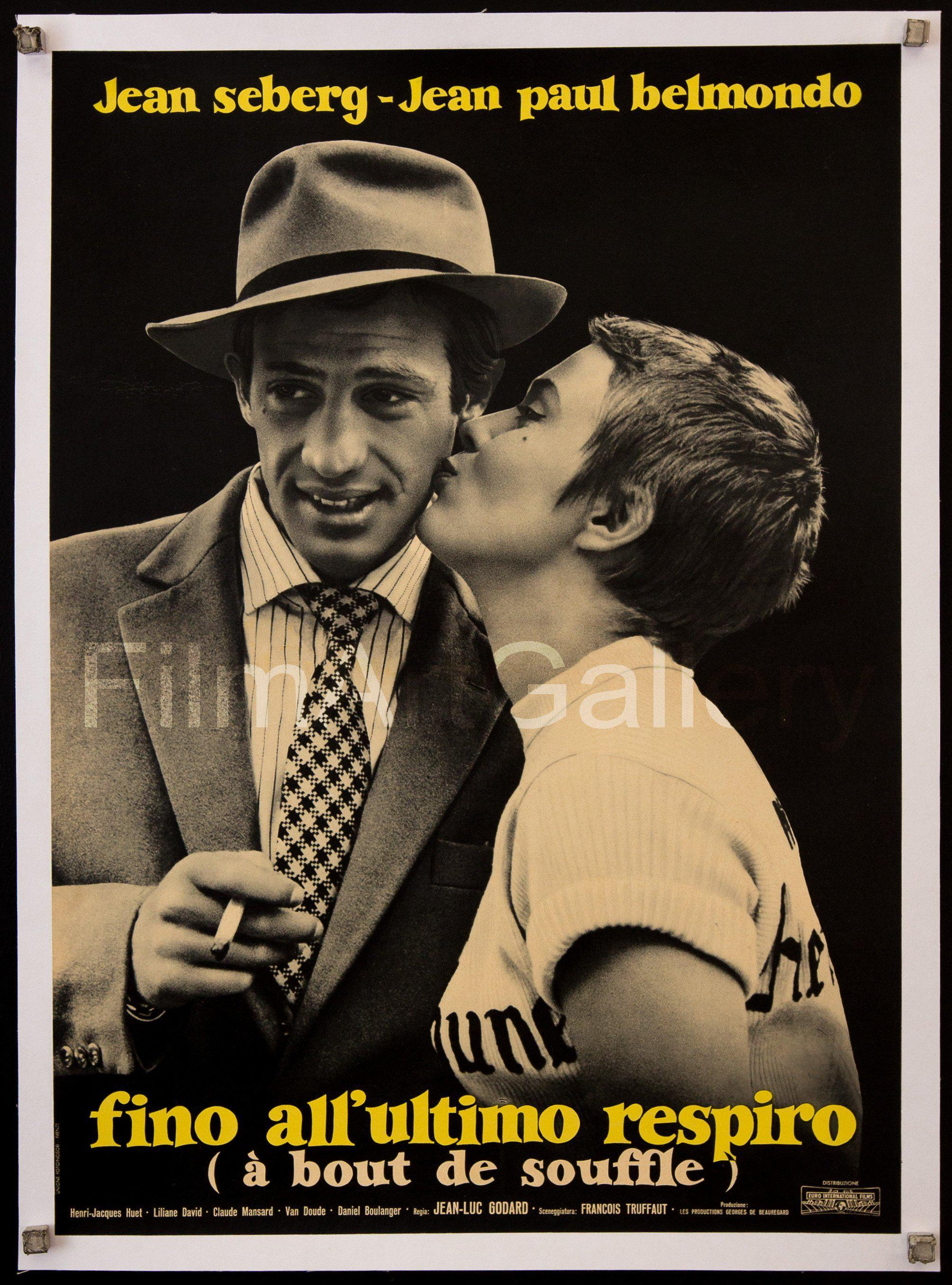 Breathless (A Bout De Souffle) Italian Photobusta (18x26) Original Vintage Movie Poster