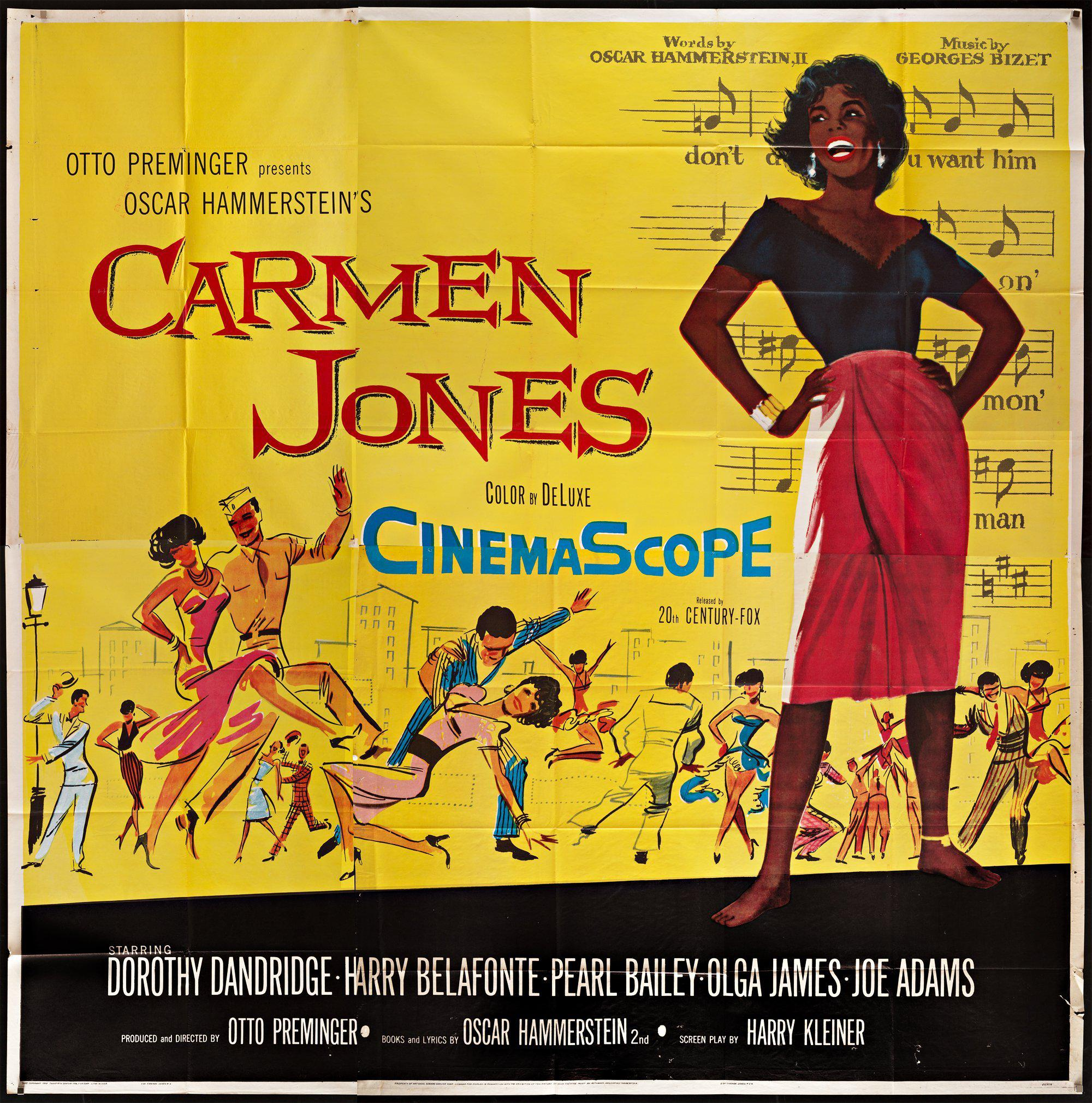 Carmen Jones Vintage Movie Poster | 6 Sheet (81x81) Original Film ...