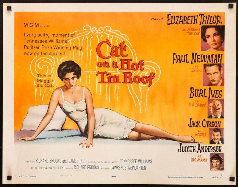 Cat on a Hot Tin Roof Half sheet (22x28) Original Vintage Movie Poster