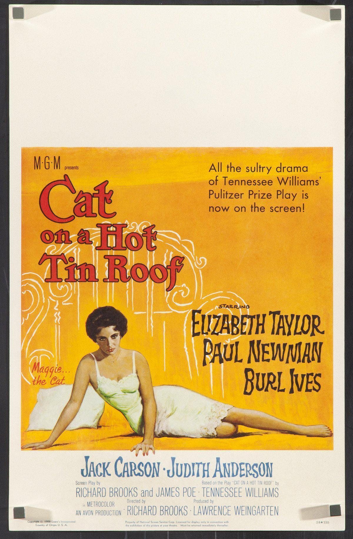 Cat on a Hot Tin Roof Window Card (14x22) Original Vintage Movie Poster