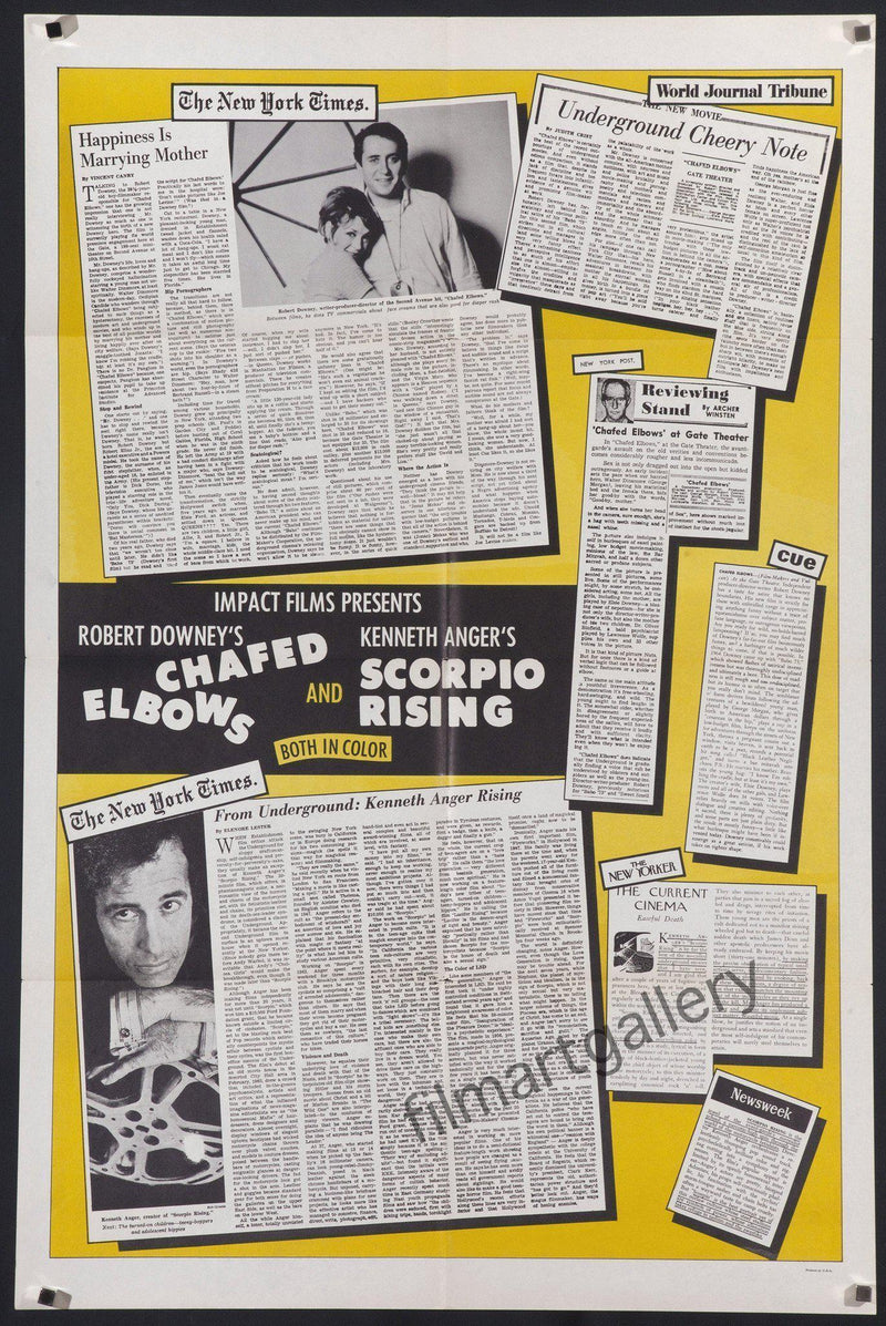 Chafed Elbows & Scorpio Rising 1 Sheet (27x41) Original Vintage Movie Poster