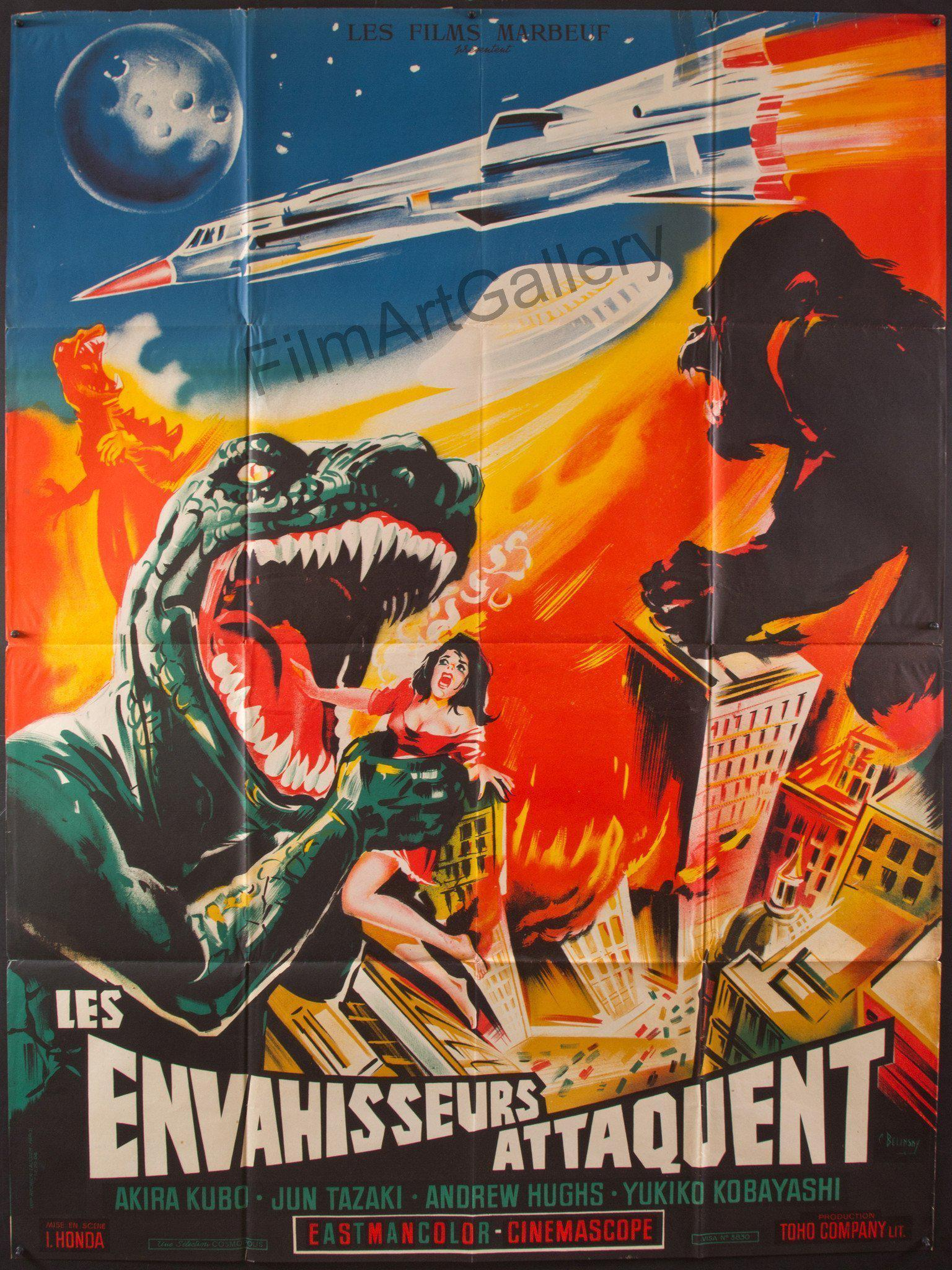 Destroy All Monsters French 1 panel (47x63) Original Vintage Movie Poster