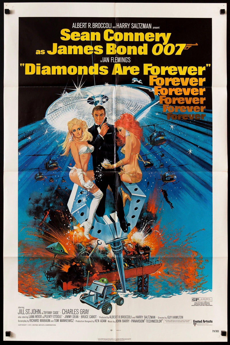 Diamonds Are Forever 1 Sheet (27x41) Original Vintage Movie Poster