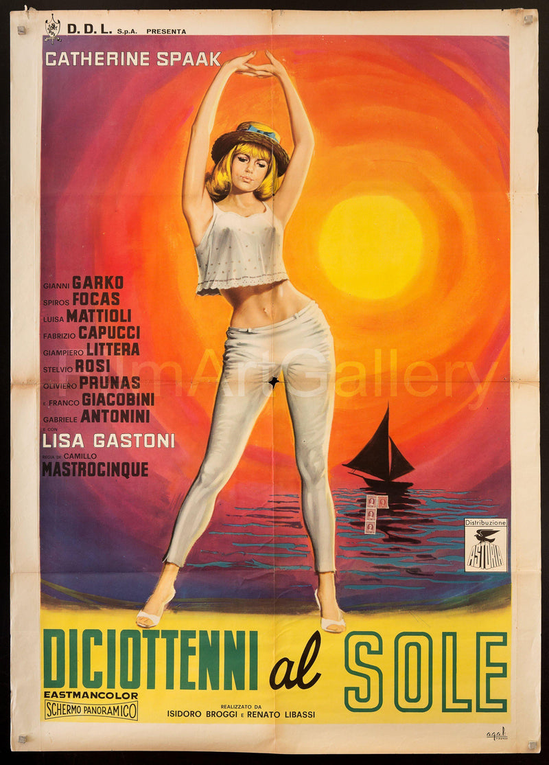 Eighteen in the Sun (Diciottenni al Sole) Italian 2 Foglio (39x55) Original Vintage Movie Poster