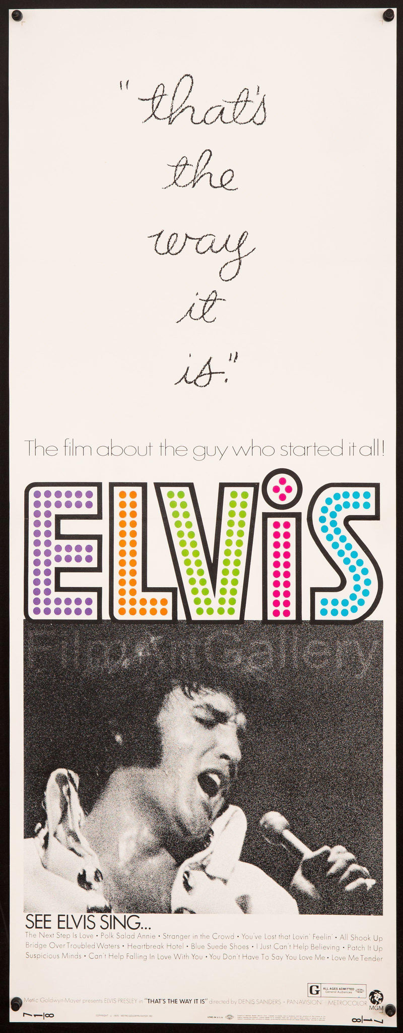Elvis That's the Way It Is Insert (14x36) Original Vintage Movie Poster