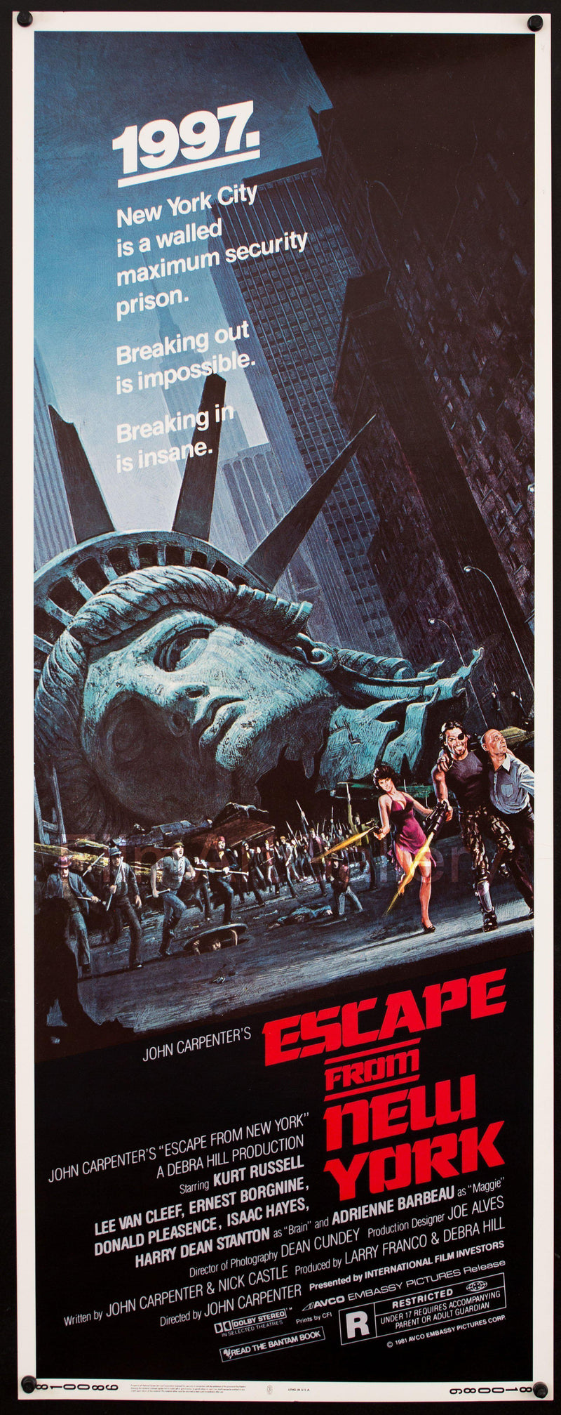 Escape From New York Insert (14x36) Original Vintage Movie Poster